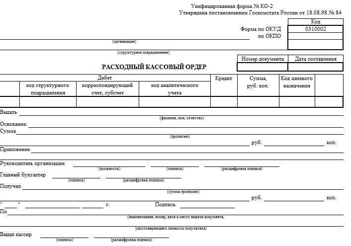 Образец заполнения расходного кассового ордера в подотчет: основание в РКО